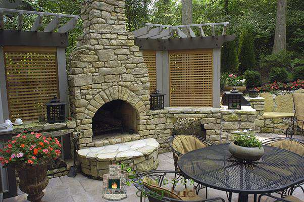 beautiful pergola and fireplace