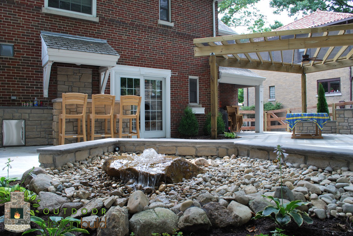 Patio with Pergola and water feature