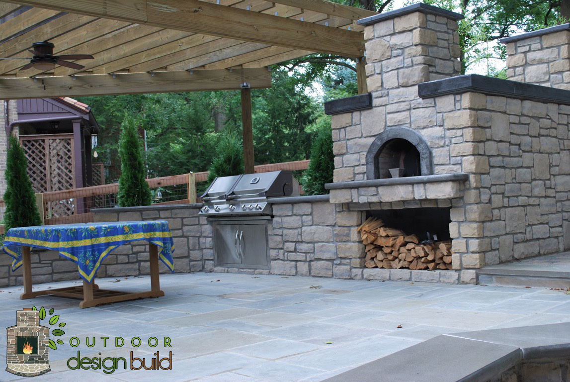 Patio with grill and pizza oven