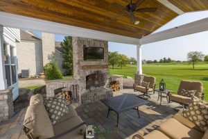 Covered Porch with Stone Fireplace