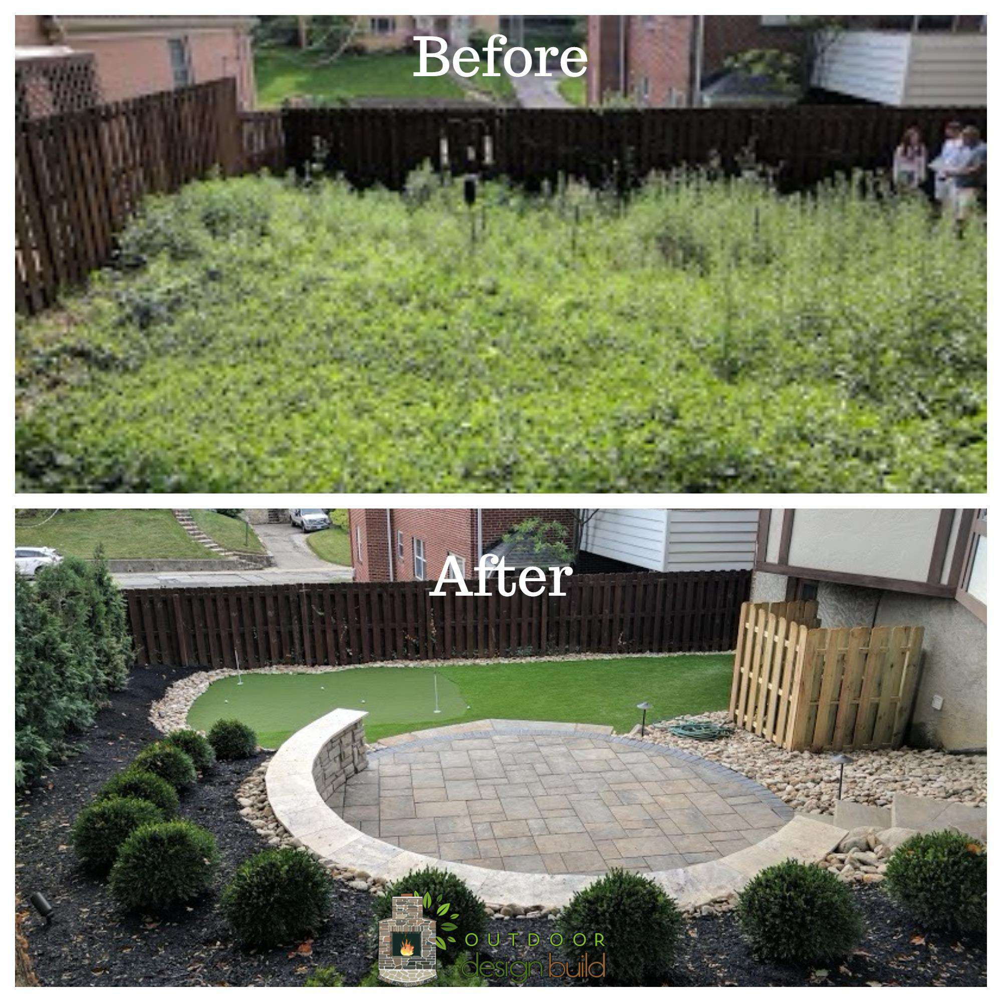 Before and After Patio with Putting Green