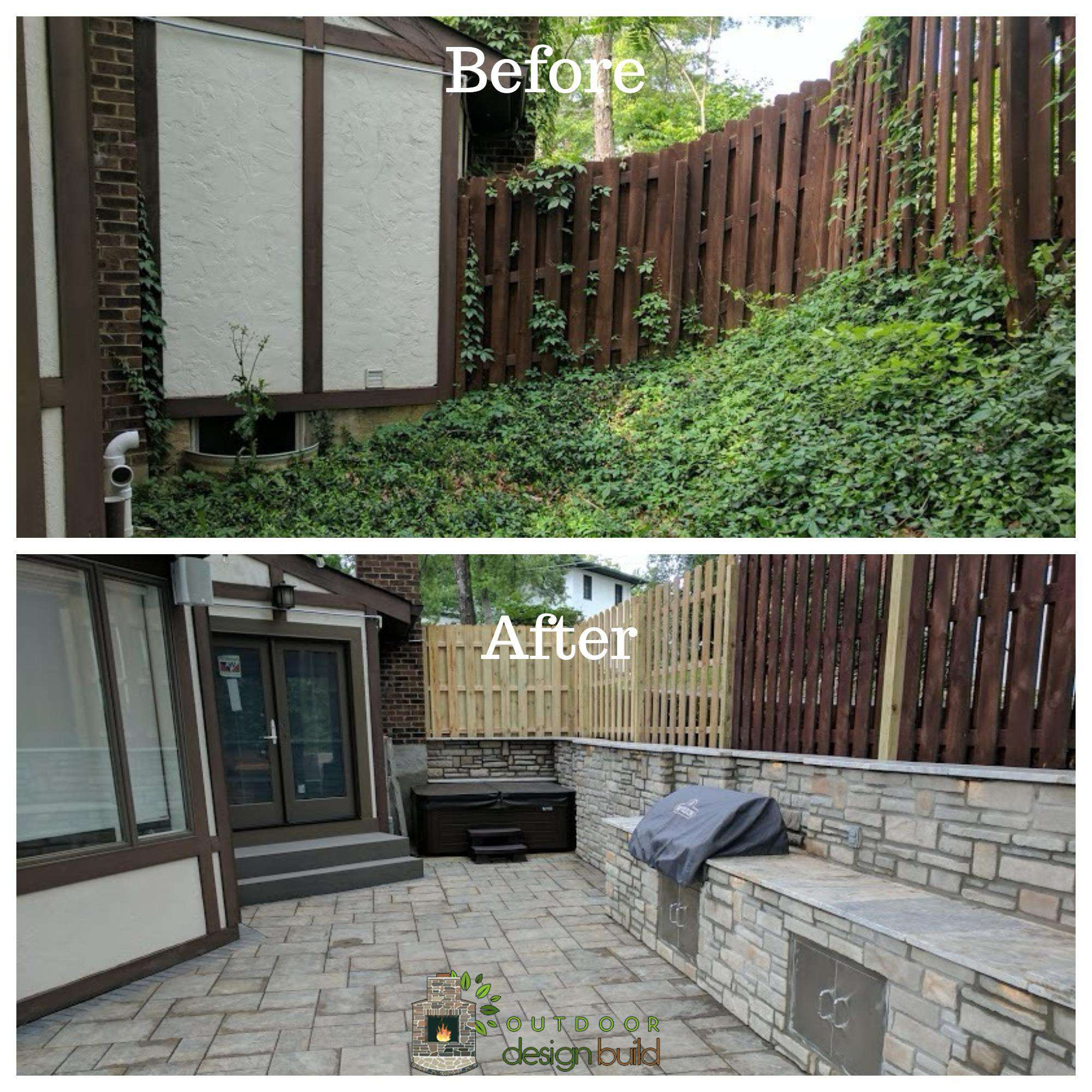 Before and After Patio with Spa and Grill Station