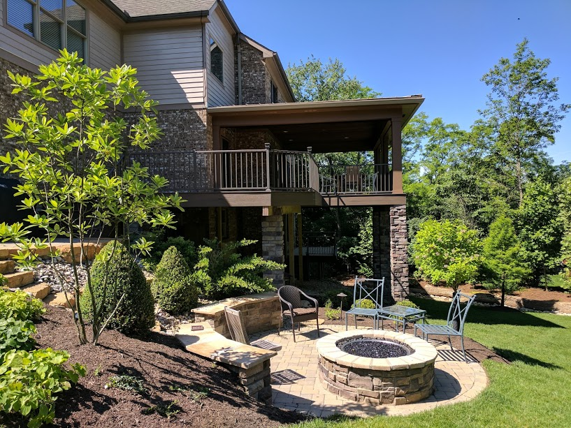 Covered Deck and Fire Pit