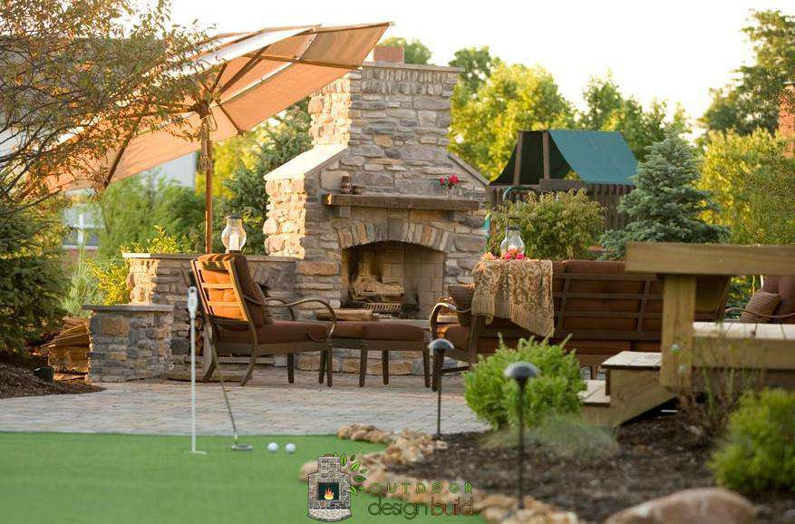 putting green patio fireplace
