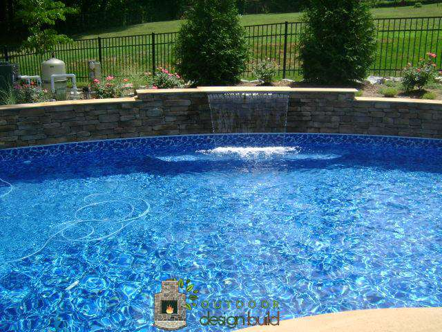 new swimming pool waterfall